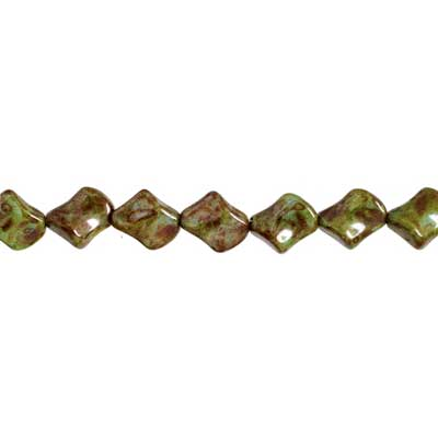GLASS BEAD TWIST 11x10mm LT.BROWN MARBLE STRUNG image