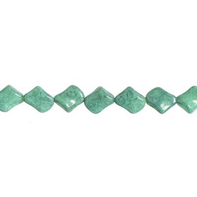GLASS BEAD TWIST 11x10mm TURQUOISE MARBLE STRUNG image