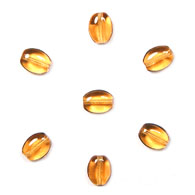 GLASS BEAD FLAT OVAL 8x6mm STRUNG     TOPAZ image