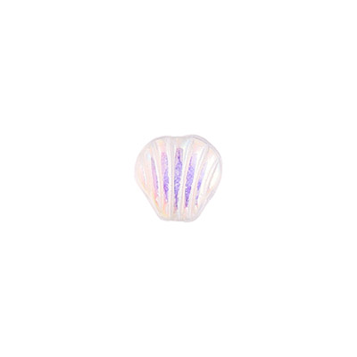 GLASS SHELL SHAPE BEAD 9x9mm CRYSTAL AB STRUNG image