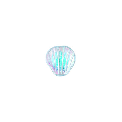 GLASS SHELL SHAPE BEAD 9x9mm ALEXANDRITE AB STRUNG image
