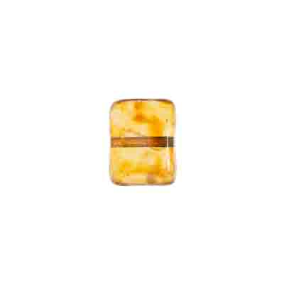 GLASS PILLOW BEAD 8x11mm AMBER MARBLE/MATTE STRUNG image