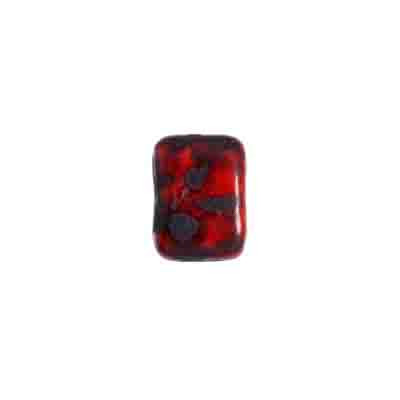 GLASS PILLOW BEAD 8x11mm RED/JET MARBLE/MATTE STRUNG image