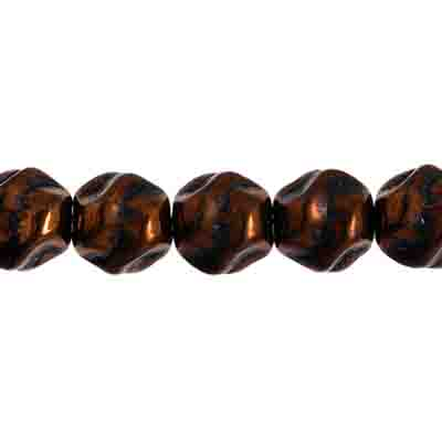 GLASS BEAD ROUND FANCY 8MM BLACK/BRONZE STRUNG image