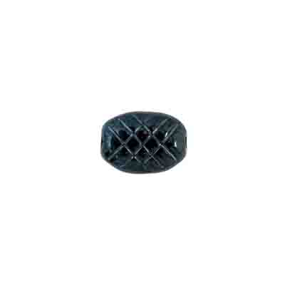GLASS GROOVED FLAT OVAL 10x7MM HEMATITE BEAD STRUNG image