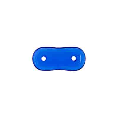 GLASS BEAD 2-HOLE SPACER 4x16 SAPPHIRE STRUNG image