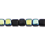 GLASS BEAD CUBES 5.5x5mm STRUNG BLACK/AB. image