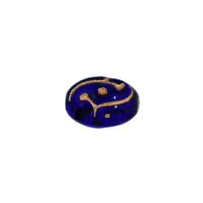 GLASS BEAD OLIVES 12x9mm COBALT BLUE/GOLD PAINTED STRG. image