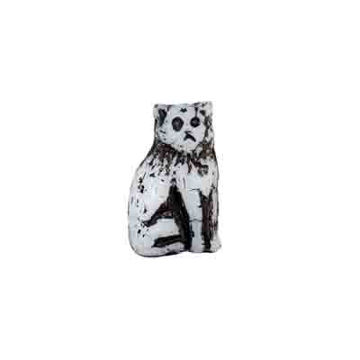 GLASS BEAD CAT 15mm WHITE/BLACK STRUNG image