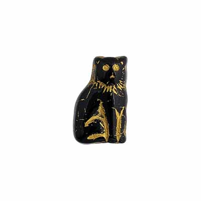 GLASS BEAD CAT 15mm BLACK/GOLD STRUNG image