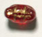 GLASS BEAD CAT HEAD 11MM SIAM RUBY/GOLD DETAILED - STRUNG image