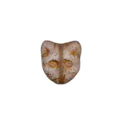 GLASS BEAD CAT HEAD 11MM CRY. AB/MATTE/GOLD DETAILED- STRUNG image