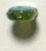 GLASS BEAD FISH 14x7mm OLIVE GREEN AB - STRUNG image