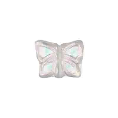 GLASS BEAD BUTTERFLY 15x12MM CRYSTAL AB - STRUNG TOP HOLE image