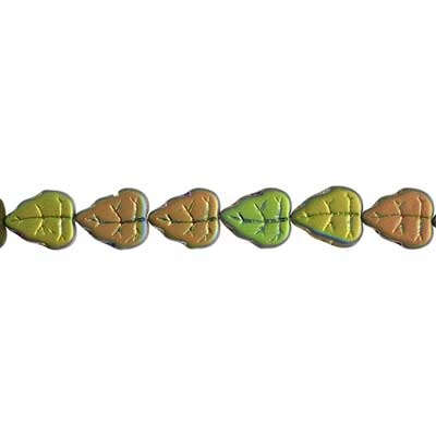 GLASS BEAD LEAVES 10x8mm GREEN AB/MATTE- STRUNG image