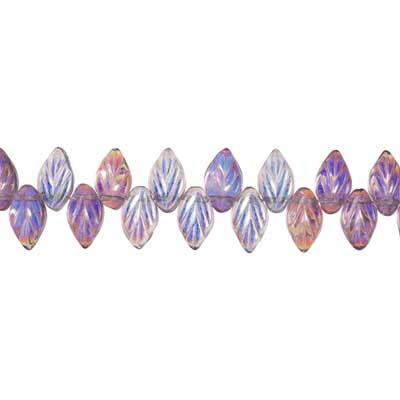 GLASS BEAD LEAF 11x7MM LT.AMET STRUNG AB image