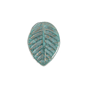 GLASS LEAVES 12x16mm STRUNG OP.TURQUOISE BLUE/GOLD PAINTED image