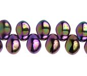 Glass Leaves 6x8mm Black Purple Luster image