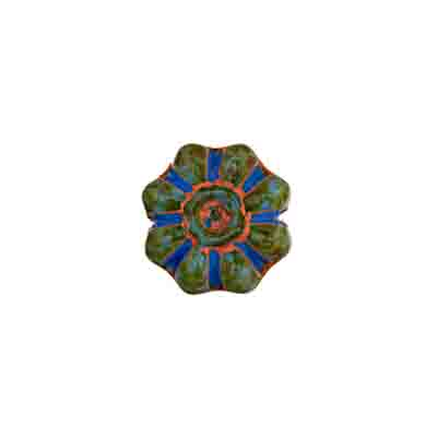 GLASS BEAD FLOWER 12mm BLUE MARBLE STRUNG image