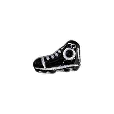 GLASS BEAD SOCCER BOOT 15x9mm BLACK/SILVER image