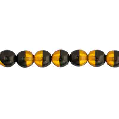GLASS 8mm TWO-TONE ROUND BEADS STRUNG BLACK/TOPAZ image