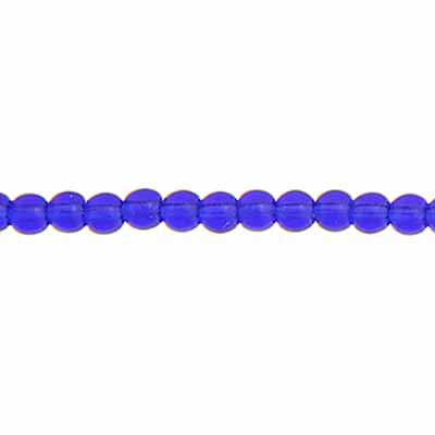 GLASS 3MM COBALT BLUE RD.BEAD STRUNG image