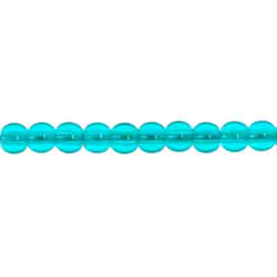 GLASS 3MM CAPRI BLUE RD. BEAD STRUNG 3 STRG X 100 PCS image