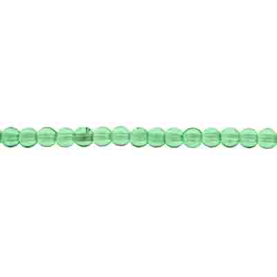 GLASS 4MM LT.GREEN ROUND BEAD STRUNG 3 STRG X 100 PCS image