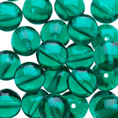 Czech Druk Beads 8mm Transparent Emerald image