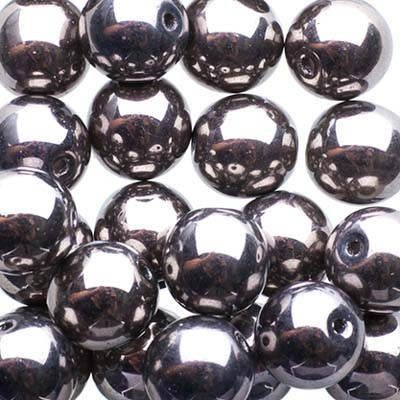 Czech Druk Beads 8mm Transparent Crystal Chrome image