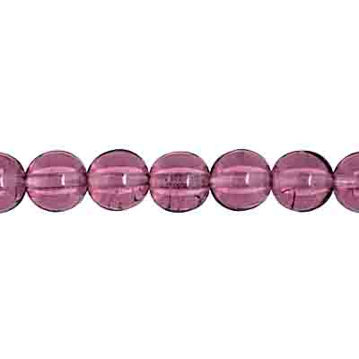 GLASS 6MM AMETHYST ROUND BEAD STRUNG 6 STRG X 50 PCS image
