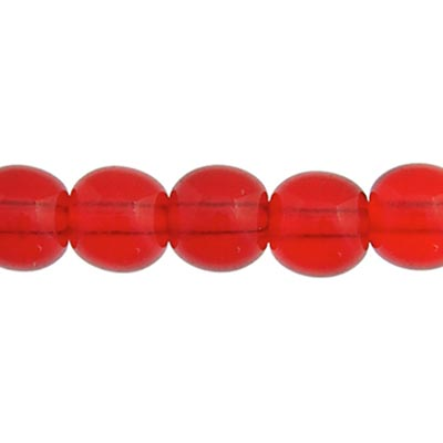 GLASS 8MM SIAM RUBY ROUND BEAD STRUNG - LARGE HOLE 1.8mm image