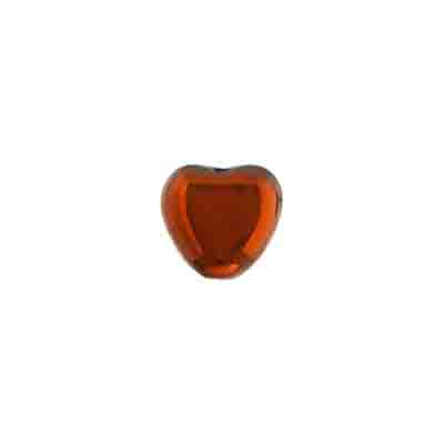 GLASS HEART BEAD 10mm JET/COPPER image