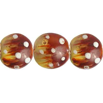 "GLASS BEAD PAINT DOT FLATROUND 13x8mm 8""STRG. COPPER/WHITE image"