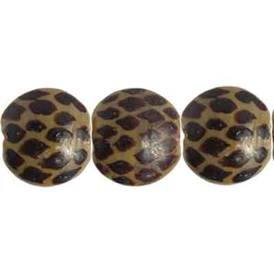 "GLASS BEAD PAINT SNAKE FLAT ROUND 13x8mm8""str.GREY/BROWN image"