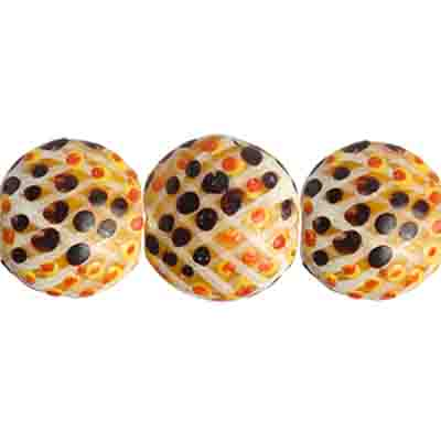 "GLASS BEAD PAINT SNAKE FLAT RD 13x8mm 8""STRG. LT.ORANGE/MULTI image"