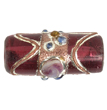 "LAMP BEAD TUBE(approx.22x10mm) 16""STR.(18pc)TRANS.DEEP ROSE image"