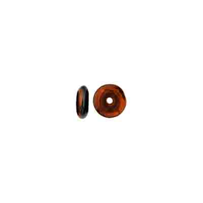 GLASS BEAD RD.FLAT 6mm SPACER JET COPPER COATED STRUNG image