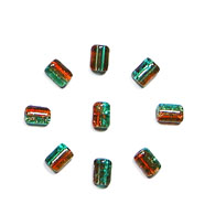 "GLASS CRACKED TUBE 4x6mm GREEN ORANGE-STRUNG 1X16""/68-70 PCS image"