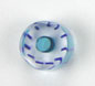 GLASS RD. CANE BEAD 10-11MM CRY.W/NAVY STRIPE 2MM HOLE image