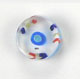 GLASS RD. CANE BEAD 10-11MM CRY.W/BLUE/YELLOW/RED STRIPE image