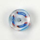 GLASS RD. CANE BEAD 10-11MM CRY.W/SKY BLUE/RED STRIPE image