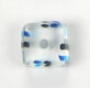 GLASS CUBE CANE BEAD 10-11MM CRY.W/TURQ./BK STRIPE 2MM HOLE image