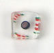 GLASS CUBE CANE BEAD 10-11MM CRY.W/GREEN/RED/BK.STRIPE image