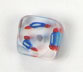 GLASS CUBE CANE BEAD 10-11MM CRY.W/SKY BLUE/RED STRIPE image