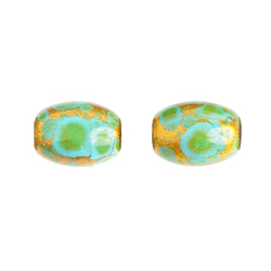 "GLASS BEAD OVAL 8x11mm 8""STR (approx.18pcs) TURQUOISE/GOLD image"