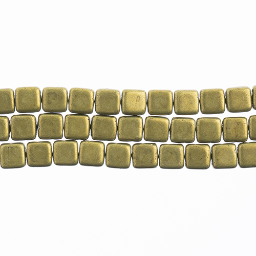 CzechMates 2-Hole Tile Bead 6mm (50pcs/Str.) Saturated Metallic Meadowlark image