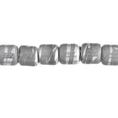 GLASS BEADS 6mm BARREL SHAPE w/ HOLE GRAY w/ SILVERLINE image
