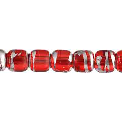 GLASS BEADS 6mm BARREL SHAPE w/ HOLE TR.RED w/ SILVERLINE image