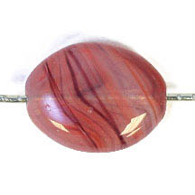 GLASS PRESSED BEADS 12x9mm FLAT OVAL RED/BROWN image